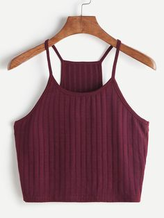 Shop Ribbed Knit Racer Back Cami Top online. SHEIN offers Ribbed Knit Racer Back Cami Top & more to fit your fashionable needs. Cami Crop Top, Cami Tops, Cropped Cami, Crop Tank, Crop Top Outfits, Summer Outfits, Cami Top Outfit, Teen Fashion Outfits, Casual Outfits