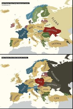 History Discover A map of the most popular first names in Europe. A map of the most popular first names in Europe. European History, World History, European Map, European Countries, American History, Popular Baby Names, Female Names, Historical Maps, Peta