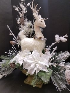 White deer winter wonderland centerpiece for your home and office display. Designed by Mary Bui for Michael store in Mission Viejo, Ca Christmas centerpiece 2017