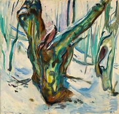 Edvard Munch - Tree Trunk in the Snow - 1923