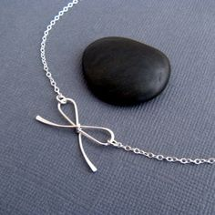bow necklace silver bow pendant necklace MINI by limegreenmodern, $32.00