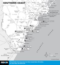 Map Of Southern Maine Coastal Towns Trip Itinerary Pinterest - Maine towns map