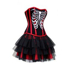 HW-1012 - Black and Red Corset with Skeleton Motif Outfit-IN STOCK - COTD