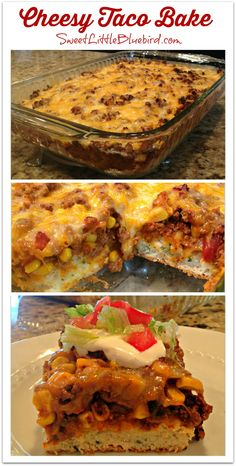 Tonight I made a quick and easy dinner that my family loved, Cheesy Taco Bake! Out of 5 stars, my family gave it 4 not too bad for a dinner I pulled off last Beef Recipes, Mexican Food Recipes, Cooking Recipes, Cooking Ideas, Dump Recipes, Food Ideas, Hamburger Recipes, Cookbook Recipes, Diy Ideas