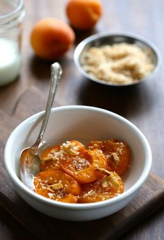 honey roasted apricots with toasted coconut and candied almonds