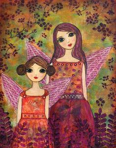 Pretty mother/daughter mixed media