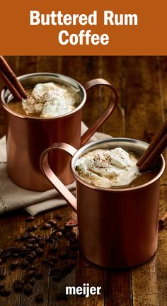 A spiced hot buttered rum for the holidays - rich, warm & cozy - a crackling fire in a mug. And you can get all the ingredients at Meijer - the butter, the rum, the coffee, the mug - even everything you need for a crackling fire. Christmas Drinks, Holiday Drinks, Fun Drinks, Yummy Drinks, Holiday Recipes, Yummy Food, Beverages, Summer Christmas, Halloween Drinks