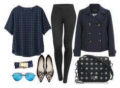"""""""navy blue sky"""" by phoebe-zeng on Polyvore featuring Uniqlo, LE3NO, Sophia Webster, Linda Farrow, Alexander Wang and Tory Burch"""