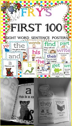 SIGHT WORDS(FRY'S FIRST 100)SIGHT WORD SENTENCE POSTERS! $