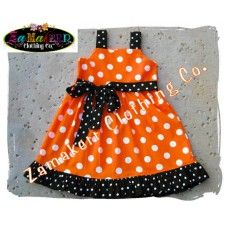 Halloween Orange and Black Polka Girl Jumper Dress