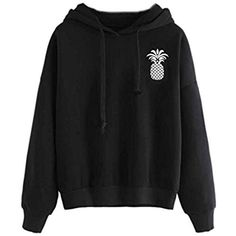 String Sweatshirt, Keepfit Fashion Pineapple Print Tops Black Hooded Pullover Blouse for Women