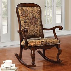 Amazon.com: 1PerfectChoice Sharan Accent Rocking Chair French Provencial Wood Cherry Floral Fabric Cushion: Kitchen & Dining