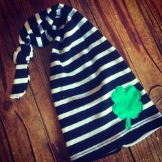 df3438b9199 Soft cotton knit blank and white striped hat with a green shamrock appliqué!
