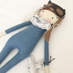 A gorgeous vintage aviator in denim - he's so delicious and huggable, I could gobble him up! #henrypipanddee #handmadedoll #fabricdoll #clothdoll #dollmaker