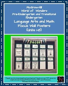 This product was created for me to have a visual, for both the students and myself, for each units focus in language arts and math.ContentsHeadersPages 5-7 contain headers for the components of Alphabet Time, as provided by the Wonders series Scope and Sequence.The math posters contain areas of focus, as provided by the Wonders series Assessment Overview.