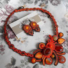 #soutache #necklace #earrings #pumpkin #pumpkinfest #bostaniada #klumea #handmade #artizan #autumn