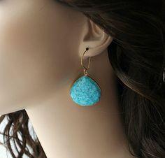 Huge Blue Turquoise Teardrop Earrings Blue Turquoise by ByGerene, $78.00