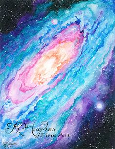 Print of Galaxy Watercolor Painting by JRHughesFineArt on Etsy, $20.00