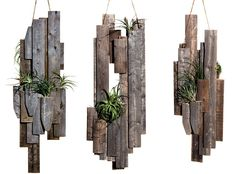 wood slat air plant holders