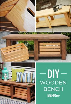We love exterior furniture that pulls double duty! Not only is this DIY rustic bench, from @thekimsixfix, perfect for seating at your next outdoor party, but it holds storage crates to make organizing your life that much easier. Use BEHR Premium Transparent Weatherproofing All-In-One Wood finish to get this look. #TrueToHue