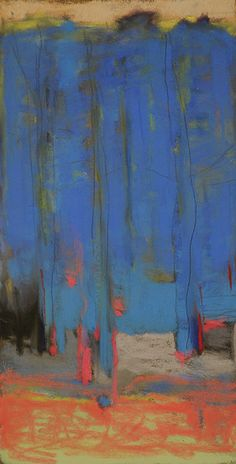 'Forest with French Blue' (2015) by American artist Casey Klahn (b.1958). Pastel and graphite, 14 x 7.3 in. via the artist's blog