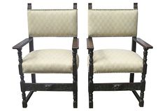 Carved Oak Chairs, Pair on OneKingsLane.com
