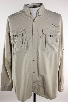 Columbia PFG Mens M Beige Camp Hiking Fishing Vented Button Front LS Shirt #Columbia #ButtonFront
