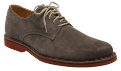 Suede 1901 shoe w/red sole.