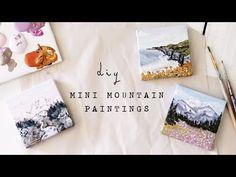 (21) diy mini mountain paintings - YouTube