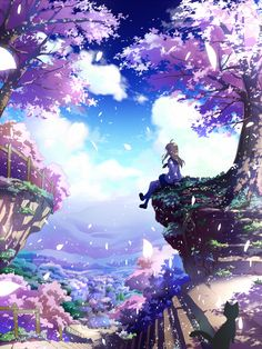 Here, in this town...spring...the blue sky...sakura...a black cat...and she...A beautiful picture