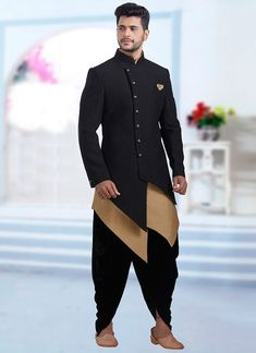 Buy Black Jacquard Indowestern Sherwani online, SKU Code: This Black color indowestern sherwani for Men comes with Jacquard Art Silk. Shop Now! Mens Indian Wear, Mens Ethnic Wear, Indian Groom Wear, Indian Men Fashion, Mens Fashion Wear, Mens Wedding Wear Indian, Fashion For Men, Indian Ethnic Wear, Men's Fashion