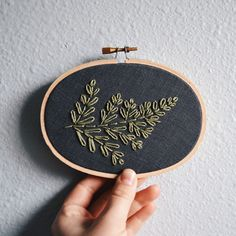 Leafy Fern Embroidery Hoop Art by  BreezebotPunch Minimalist Plant Lady Botanical Art