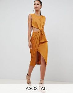 4da6f24b29f ASOS DESIGN Tall twist front sexy satin pencil dress with cut out Date  Dresses