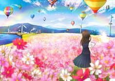 anime girl with hot air balloons