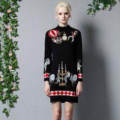 Fall Winter Dress Women Runway Vintage Embroidery Sweater Dresses Long Sleeve Plus Size Slim Sheath Knitting Dress Casual
