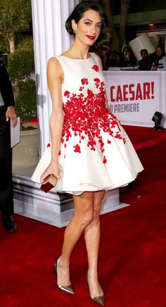Amal Clooney in a Giambattista Valli Haute Couture red-and-white mini dress.