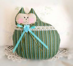 Cat Doll Pillow Cloth Doll 7 inch Olive Green by CharlotteStyle