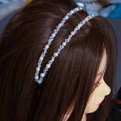 double headband with crystals and pearls