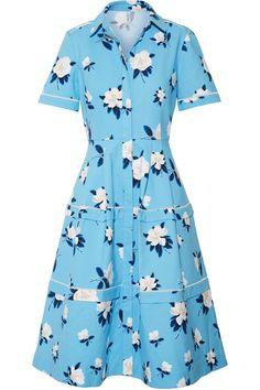 Draper James | Crochet-trimmed floral-print cotton-piqué dress
