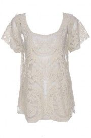 ROMWE Hollow-out Lace Crochet Apricot Short-sleeved Blouse