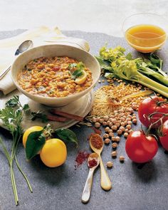 Golden Lentil Stew - a Moroccan chickpea and lentil stew, known as harira - brightened by spices and lemon