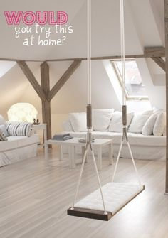 Indoor swing for a kid play room/living romm Swing Indoor, Outdoor Swings, Indoor Hammock, Indoor Play, Indoor Outdoor, My Living Room, Living Spaces, Living Area, Interior Decorating