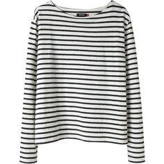 Wood Wood Adrien Striped Tee. (310 BRL) ❤ liked on Polyvore featuring tops, shirts, sweaters, long sleeves, women, striped top, black and white stripe shirt, black and white stripe top, white and black striped shirt and black and white striped shirt
