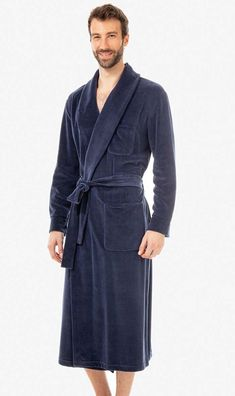 5ed6696fbd Comfortable cotton mix velour robe in navy blue from Laurence Tavernier