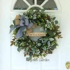 Summer Wreath-Boxwood Wreath-Farmhouse Decor-French Country