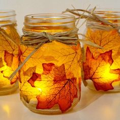 Mason jars with fall leaves monge poged on them | Mason jars are all the rage for home decoration. This mason jar ...