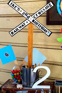 Railroad crossing sign   Photo 1 of 11: Thomas the Train party / Birthday Train party | Catch My Party