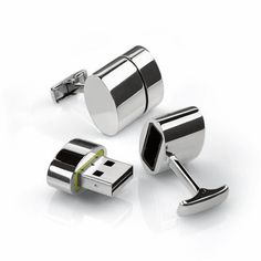 Tech. Hi-Tech. Cufflinks offer secret file storage plus your own Wi-Fi hotspot.