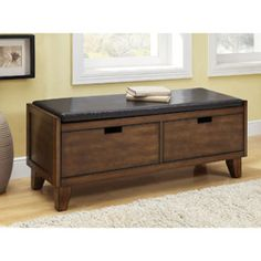 File Storage under cover ????---Dark Walnut Solid Wood Bench With Drawers - Overstock™ Shopping - Great Deals on Monarch Benches