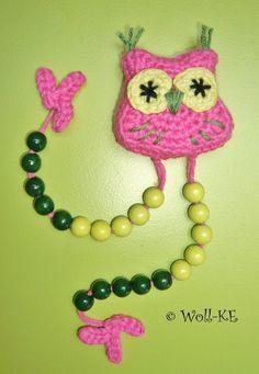 Rechenkette+Eule+pink-grün+Zählkette+Rechenhilfe+von+Woll-KE+auf+DaWanda.com
